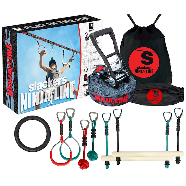 Slackers NinjaLine 30 Ft Intro Kit with 7 Hanging Obstacles - Active Play for Ages 5 to 11 - Fat Brain Toys