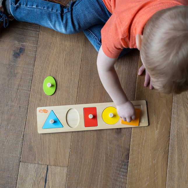 Let's Learn Shapes! Wooden Puzzle - Baby Toys & Gifts for Ages 1 to 2 - Fat Brain Toys