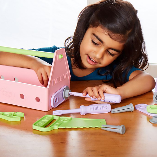 Green Toys Tool Set - Pink - Imaginative Play for Babies - Fat Brain Toys