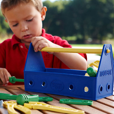 Green Toys Tool Set - Blue - Imaginative Play for Babies - Fat Brain Toys