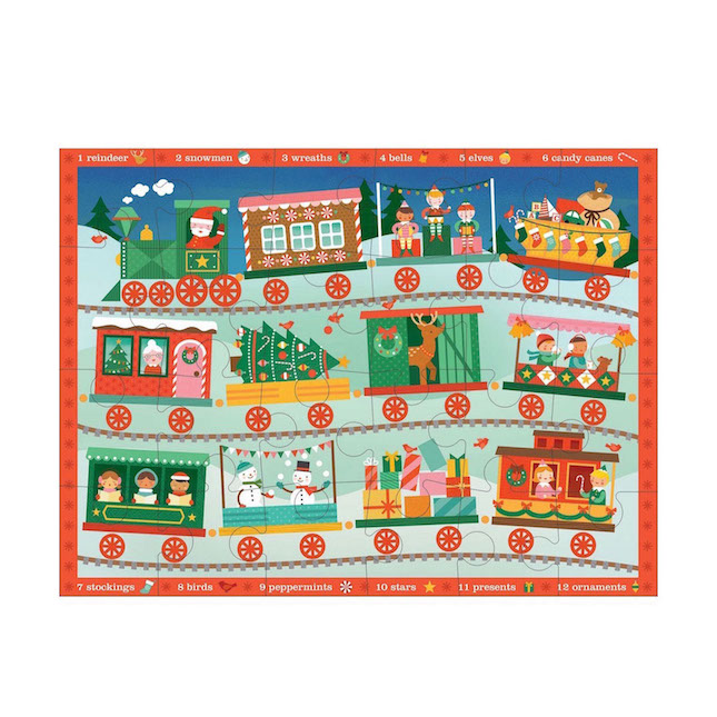 Christmas Train Floor Puzzle - Puzzles for Ages 3 to 5 - Fat Brain Toys