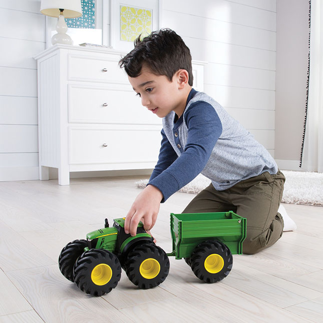 8 inch John Deere Monster Treads Lights and Sounds Tractor with Wagon -  - Fat Brain Toys