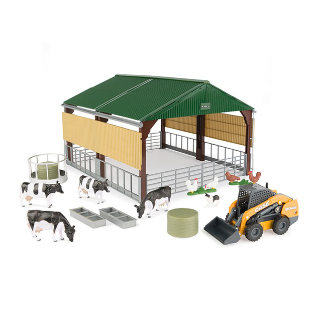 1/32 Farm Country Livestock Building with Case SV340B Skid Steer and Accessories -  - Fat Brain Toys
